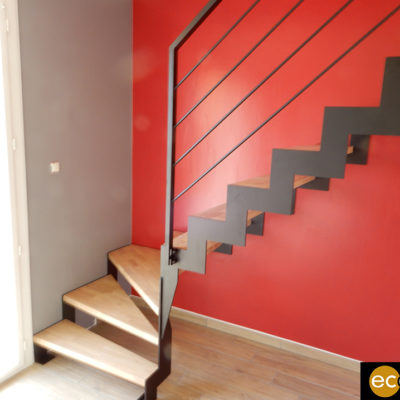 escalier bois métal 1/4 tournant