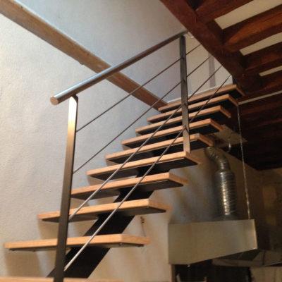 escalier bois rampe inox