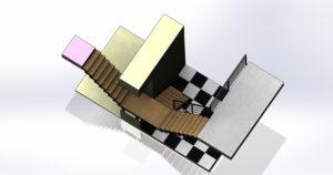 Escalier double révolution sur mesure EC Design fabricant d'escalier à Vendôme Loir-et-Cher