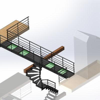 plan escalier avec passerelle passerelle métal verre EC Design fabricant d'escaliers et passerelles à Vendôme Loir-et-Cher