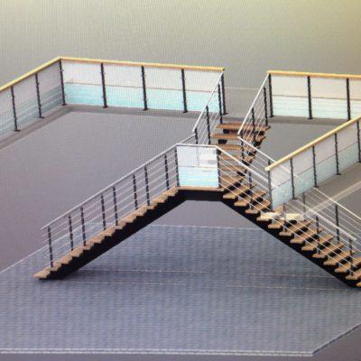 Escalier entreprise à 2 révolutions avec garde-corps EC Design fabricant d'escaliers Loir-et-Cher