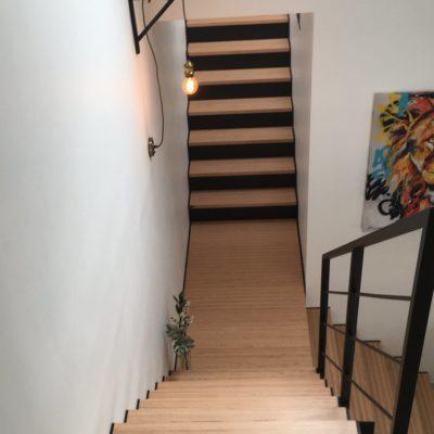 Escalier 2 révolutions bois métal EC Design fabricant d'escalier à Vendôme Loir-et-Cher