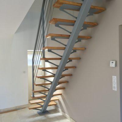 escalier bois métal laqué gris fabricant escaliers Loir-et-Cher Vendôme