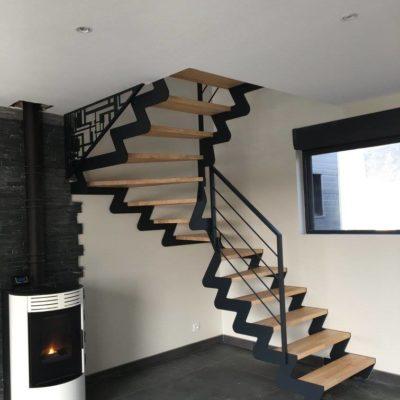 Escalier bois métal design cannelé Fabricant escaliers Vendôme Loir et Cher