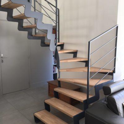 Escalier bois métal limon cannelé EC Design fabricant d'escalier à Vendôme Loir-et-Cher