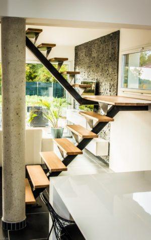 Escalier bois métal double quart tournant