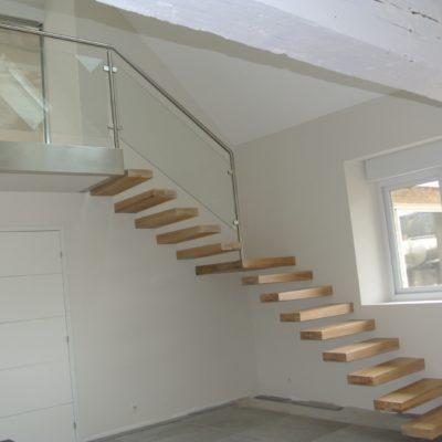 Escalier encastré marche bois design fabricant escaliers Loir-et-Cher Vendôme