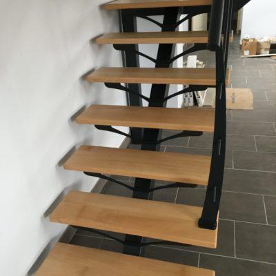 escalier quart tournant limon central bois métal fabricant escaliers Loir-et-Cher Vendôme