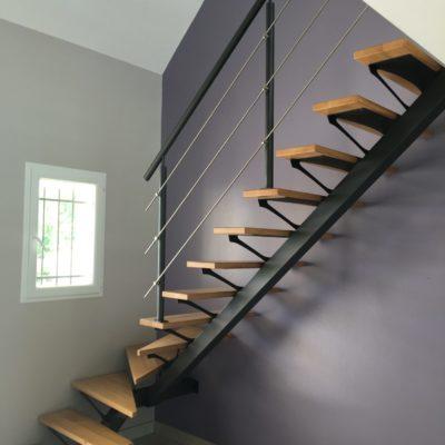 escaliers limon central bois métal Fabricant escaliers Loir-et-Cher Vendôme Tours Blois EC DESIGN