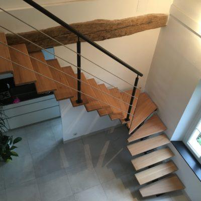 Fabricant d'escalier bois métal quart tournant Vendôme Loir et Cher