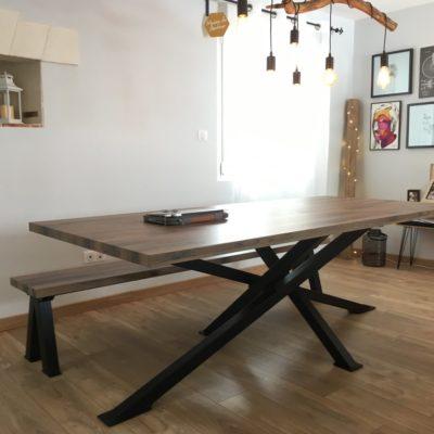 Table sur-mesure bois métal piétement mikado - fabricant mobilier artisanal loir et cher Vendôme EC Design