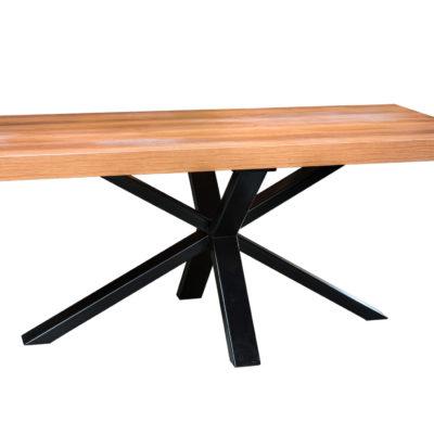 Table bois métal pieds en croix - fabrication mobilier artisanal loir et cher Vendôme EC Design
