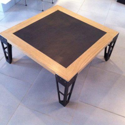 Table basse bois et métal - fabricant mobilier artisanal loir et cher Vendôme EC Design