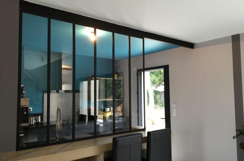 Verrière métal noir cloison cuisine EC Design Vendôme Loir-et-Cher
